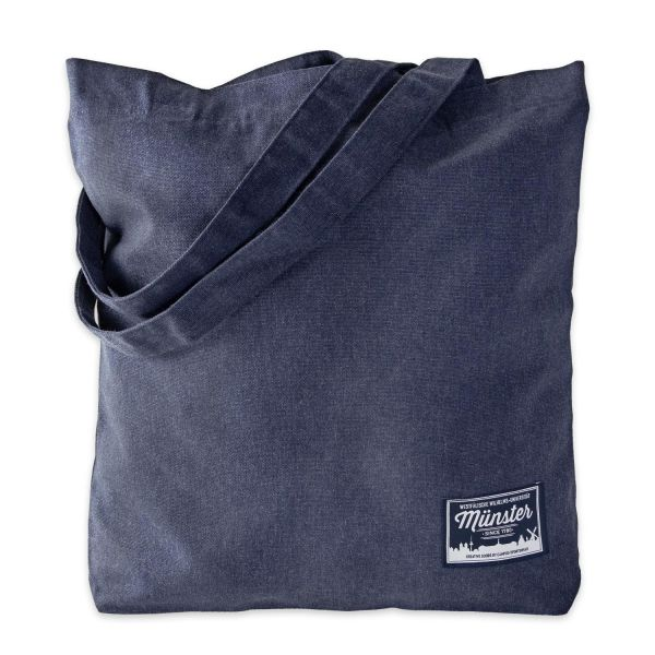 Organic Tote Bag, heather blue, label