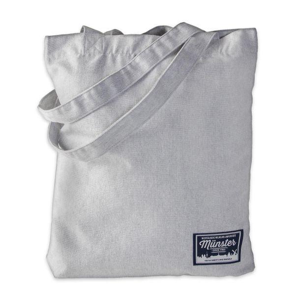 Organic Tote Bag, heather grey, label