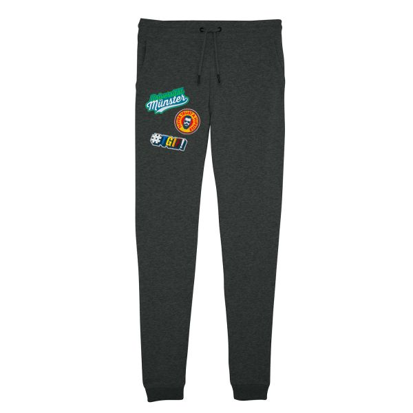 Damen Organic Sweatpants, dark heather grey, patchit
